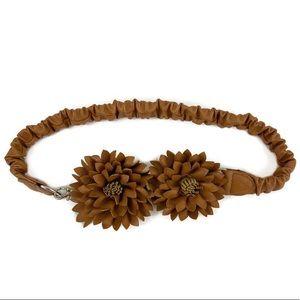 Faux Leather Tan Elastic Stretch Sunflower Belt